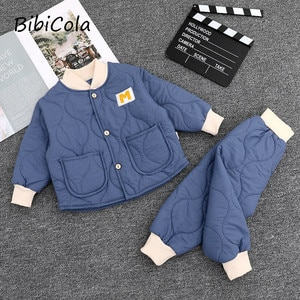 Autumn and winter baby cotton-padded clothes suit boys and girls quilted two-piece suit Western style thick home service suit