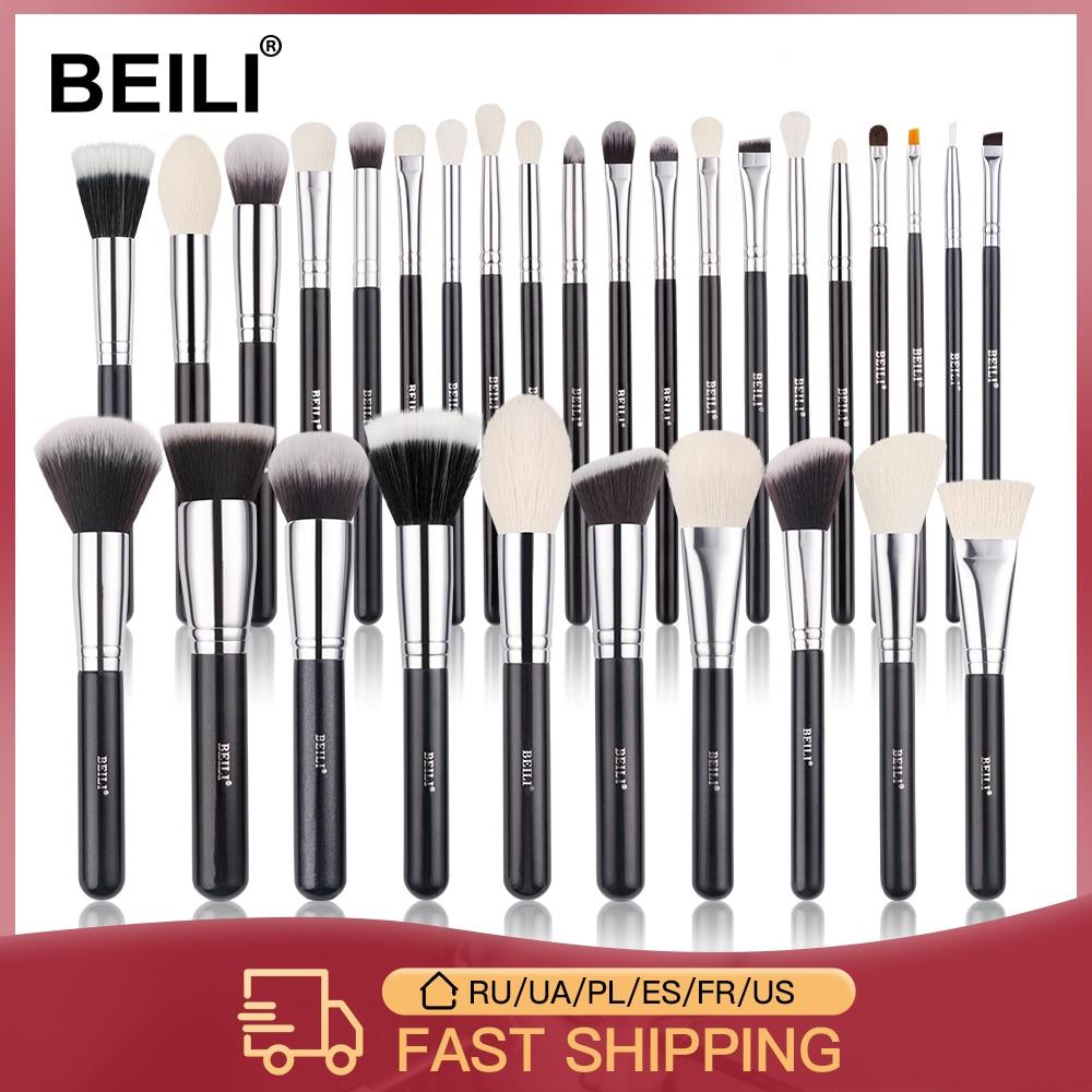 aliexpress - BEILI Black Makeup brushes set Professional Natural goat hair brushes Foundation Powder Contour Eyeshadow make up brushes