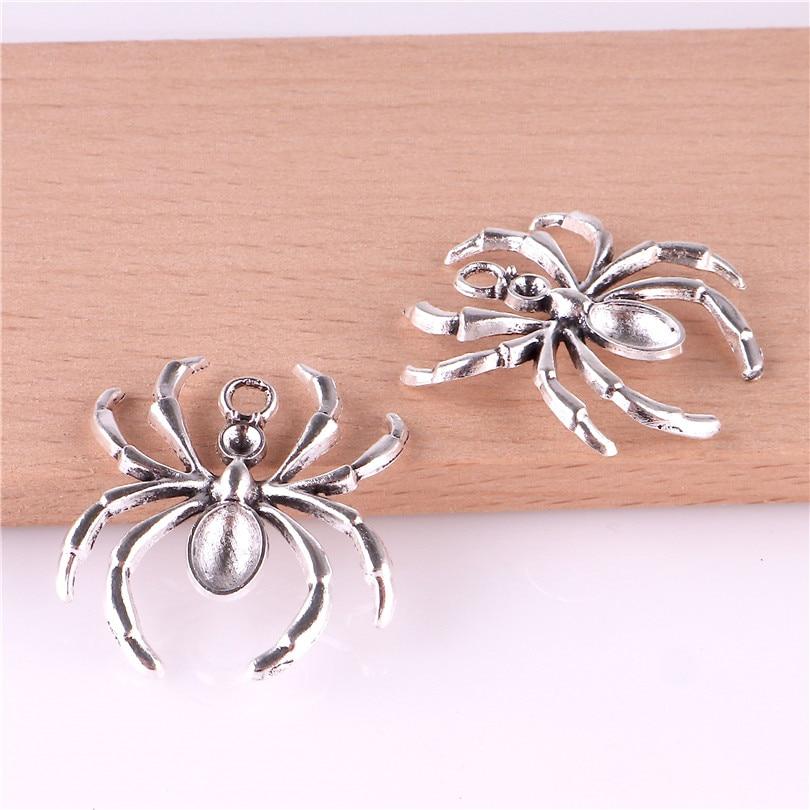 20 piezas encantos de Halloween colgantes de araña gótica suministros de artesanía colgantes para bricolaje artesanía Fabricación de plata antigua 23290