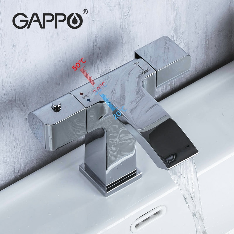 GAPPO ترموستاتي حوض للحمام الحنفيات الباردة/الساخنة خلاط حوض صنبور مصرف المياه صنبور المطبخ اكسسوارات الحمام