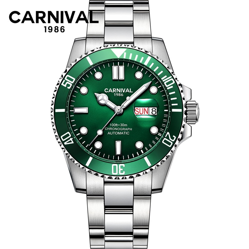 CARNIVAL 100ft Diving Watch Men's Water Ghost Automatic Mechanical HD Luminous Pointer Calendar Display Watches Relogio Masculin enlarge
