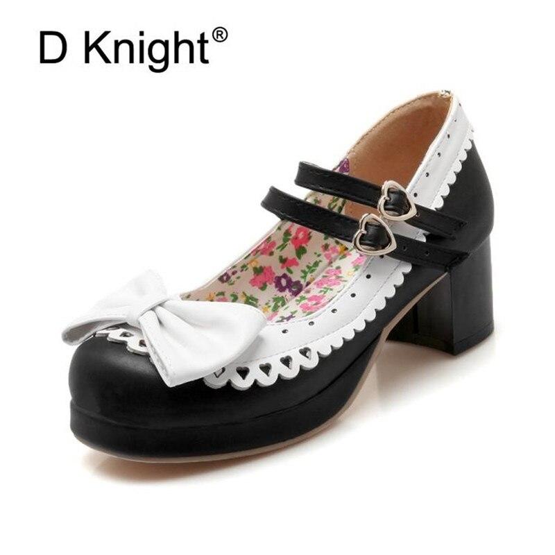 Bombas Lolita zapatos mujer nueva moda 2020 5cm altura señora bombas zapatos agradable arco hebilla mujer calzado de tacón alto talla grande 30-46