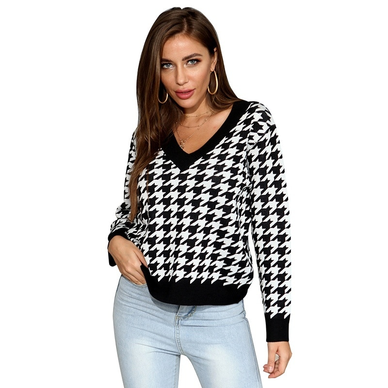 Houndstooth Christmas Sweater Women Loose V-neck Pullover Knitted Sweater Autumn Winter Fashion Women Clothing new autumn winter knitted sweaters women christmas theme cute snowman and christmas tree ugly christmas sweater pullover women