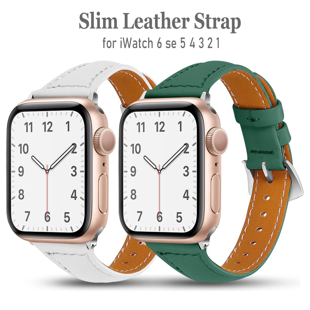 strap genuine leather bands for apple watch 38mm 42mm 40mm 44mm smart watches band for i watch series 5 4 3 2 1 women s bracelet Slim Genuine Leather Watch Band For Apple Watch 6/5/4 40MM 44MM Bracelet Strap For Iwatch Series 3/2/1 38MM 42MM Accessories