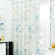 Hooks Curtain PEVA Shower Curtain Starfish Scenic Print Bathing Curtain Bathroom Decoration Waterproof Shower Curtain 300x200cm