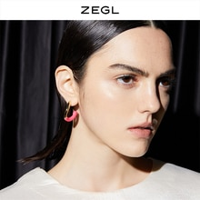 Zegl Macaron Contrast Color Ear Studs Women's Niche Design Simple Earrings 2021new Fashion Net Red E