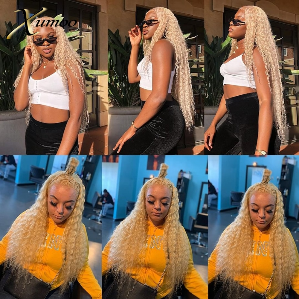 XUMOO Cheap Natural Hairline Remy Human Hair Deep Curly Blonde Wig Human Hair Lace Front Wig Lace Wigs For Black Women