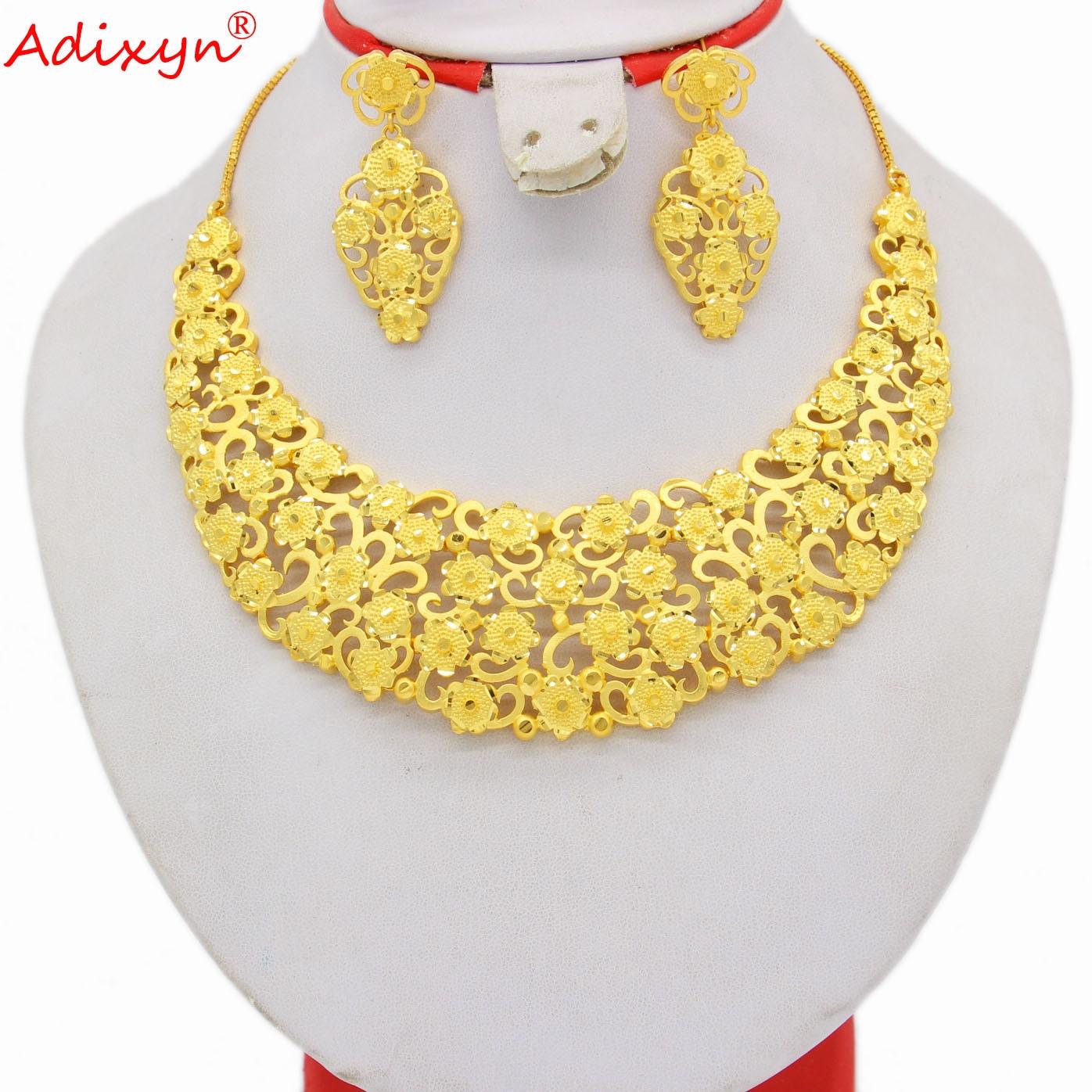 Adixyn 24K Gold Color Dubai Women Necklace Earrings Jewelry Set African Arab Wedding Bridal Saudi Gifts N04073