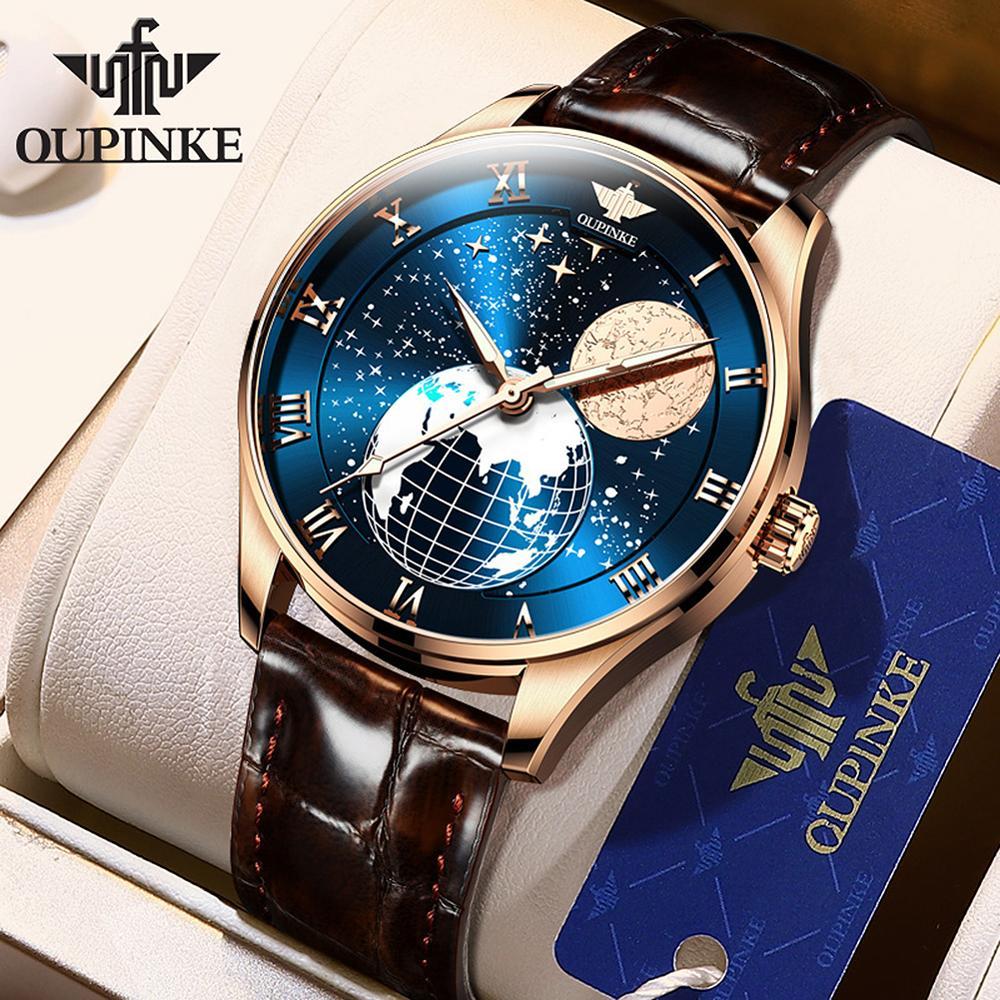 OUPINKE-ساعة جلد أوتوماتيكية ، ساعة ميكانيكية للرجال ، ذهب وردي ، مقاومة للماء ، مرحلة القمر ، أعمال ، P3177