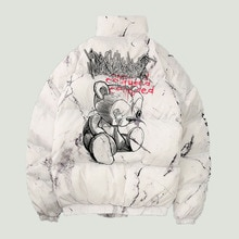 Fashion Winter Down Jackets Mens Cartoon Bear Printing Thicken Warm Parkas Male Hip Hop Streetwear C