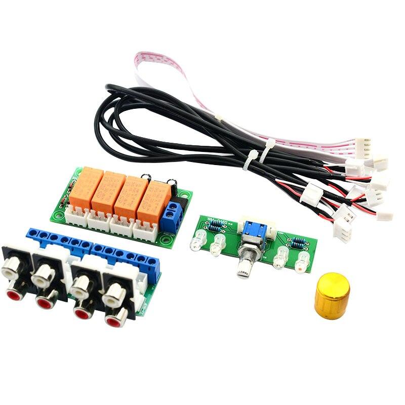 Selector de señal de entrada o 4 vías de AMS-relé conmutador RCA o tablero de selección de entrada de conmutación rotativa para amplificadores