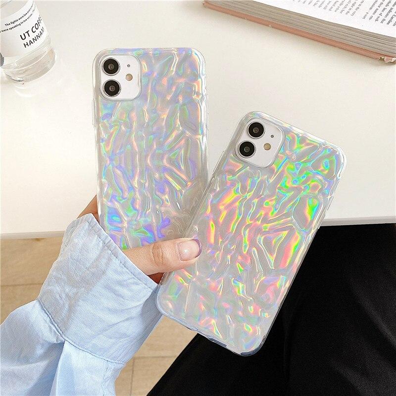 Funda de lujo para teléfono con textura arrugada para iphone SE 2020 7 8 plus 11 Pro Max X XR XS Max transparente cubierta trasera Linda Capa suave láser