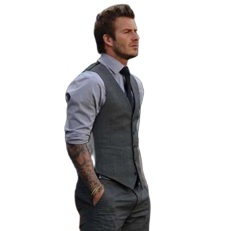 Formal Mens Black Gray Businss Vest Plus New Fashion Wedding Men Slim Fit Suit And Waistcoat