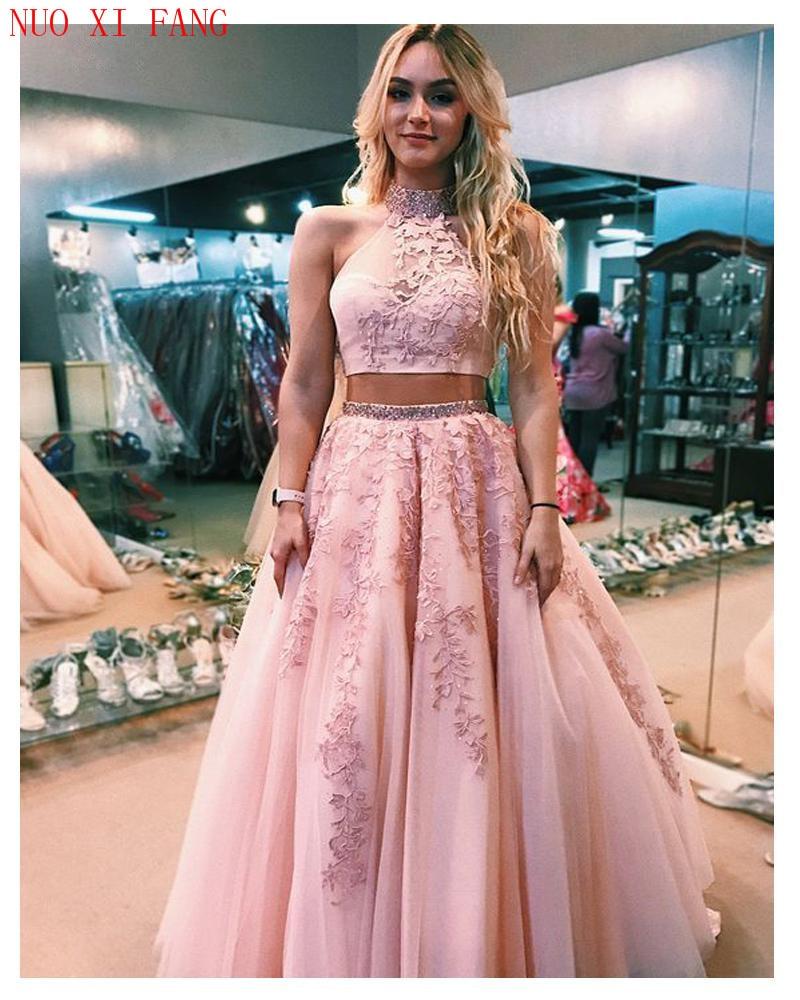 Розовые платья Quinceanera, кружевные платья из 2 частей, Аппликации, трапециевидные платья с открытой спиной, фатиновые платья, 2020