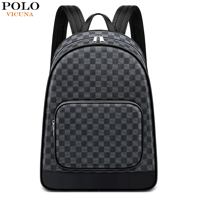 VICUNA POLO Brand Plaid Design Men Backpack Large Capacity Fashion PVC Leather Laptop School Backpac
