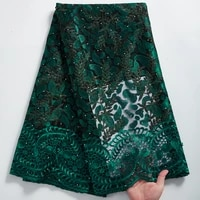 2021 high quality african lace fabric with beads embroidery french tulle nigerian net lace fabric for wedding party dress y2322