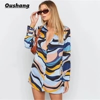 vintage mini shirt dress women 2021 long sleeve autumn printed casual loose office dresses fashion y2k streetwear outfits new