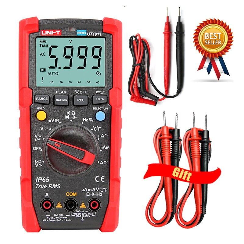 UNI-T UT191T UT191E اختبار رقمي متعدد المهنة صحيح RMS السيارات تتراوح DMM 20A مقياس التيار الكهربائي 600V عدد 6000 DC AC مكثف.