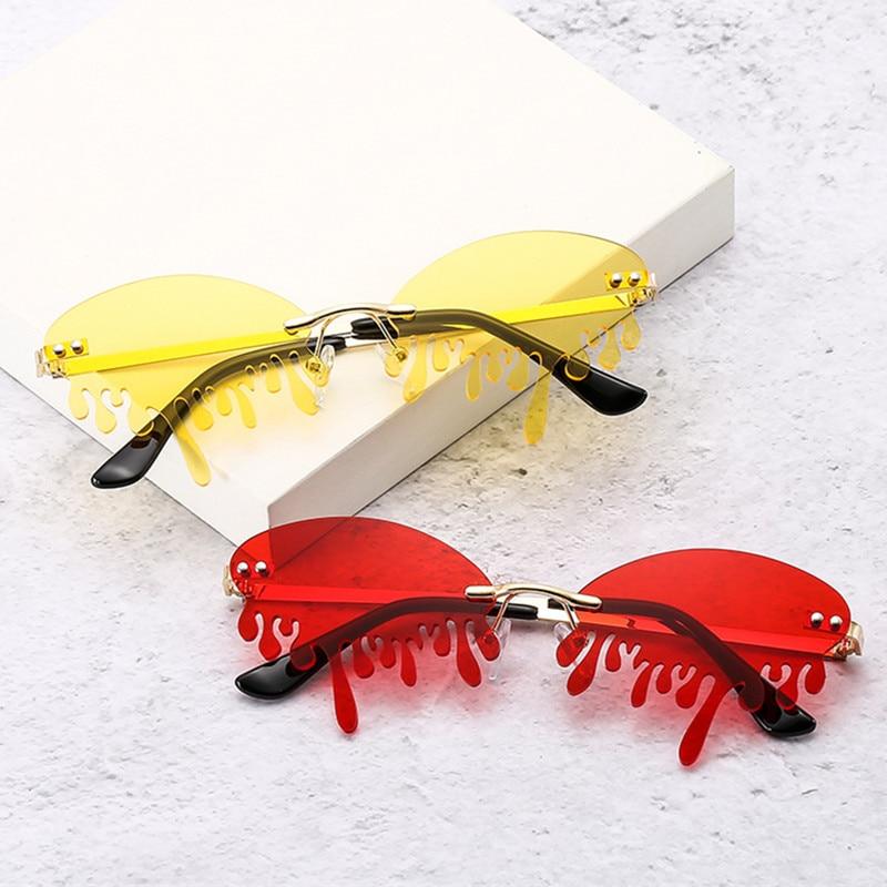 ¡Novedad de 2020! Gafas de sol sin montura, gafas de sol de moda con diseño de marca para mujer, gafas para el escenario de serie de cientos de lágrimas, gafas de sol con protección UV400 para mujer
