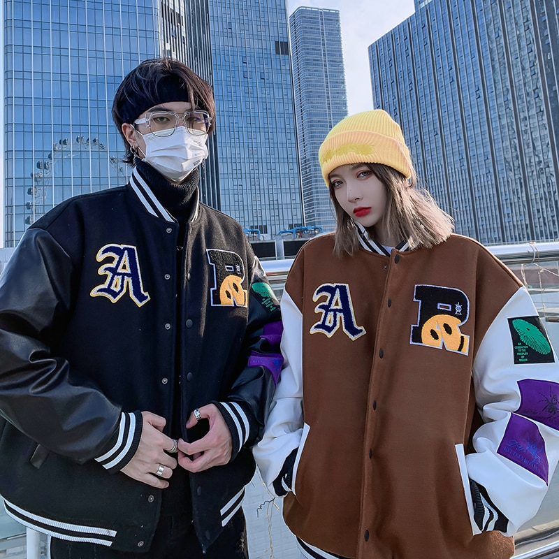 Contrast Color Letter Embroidery Oversize Wadded Jacket Men and Women Streetwear Harajuku Thick Parkas Loose Casual Winter Coat
