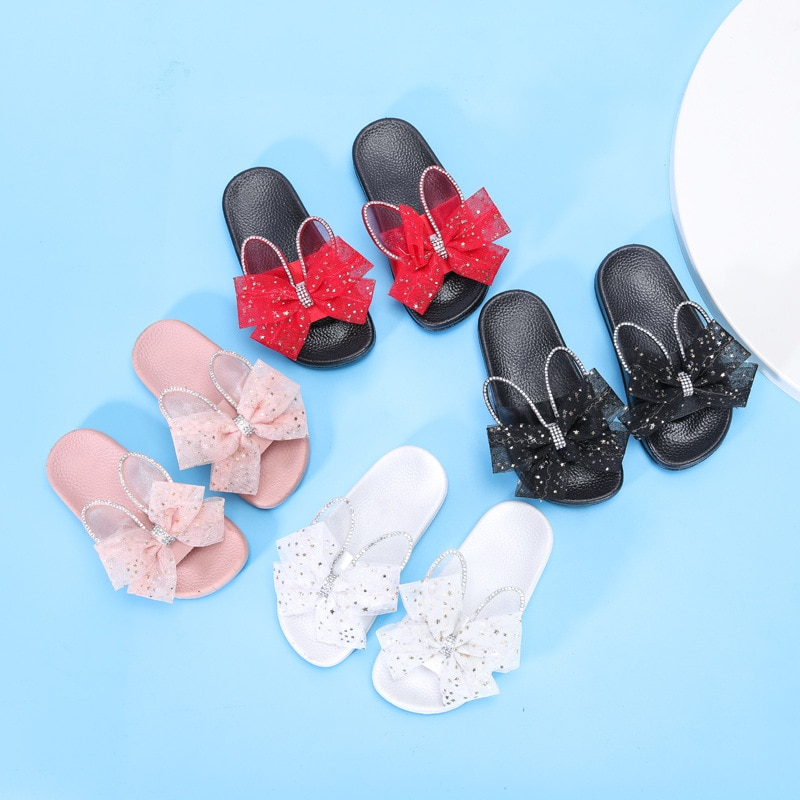 Girls Slippers Kids Summer Lace Bow-tie Children Home Slipper with Rabbit Ears Cute Kids Slippers for Girls Indoor Slides