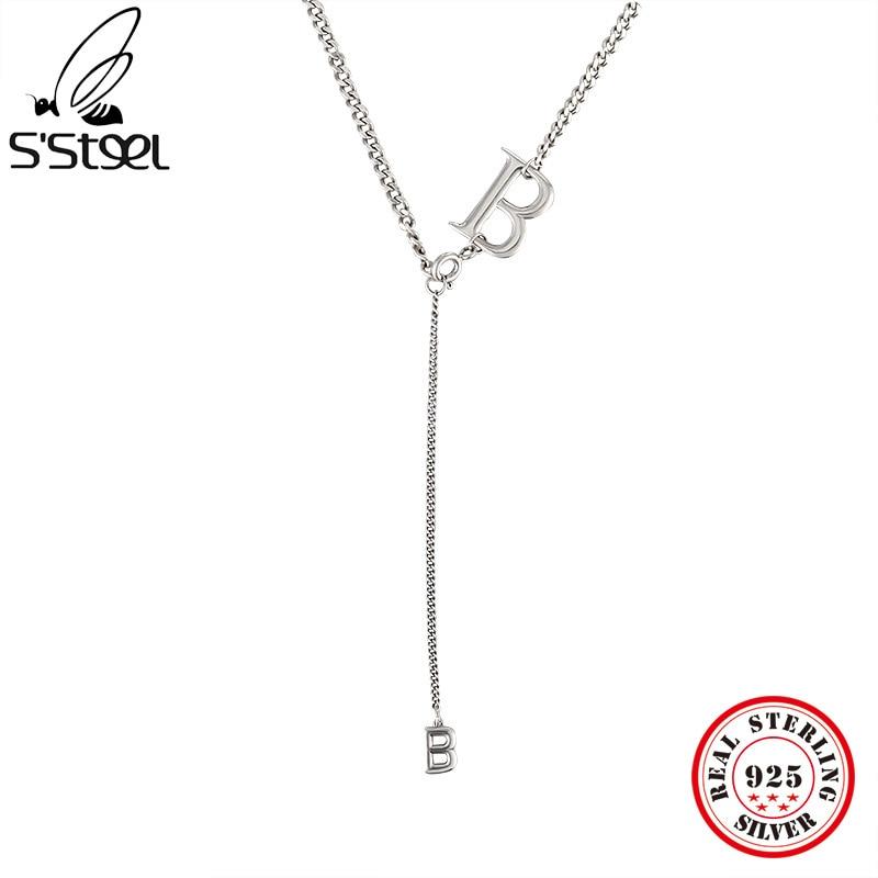 S'STEEL минималистский Буквы B подвески ожерелья 925 стерлингового серебра для женских аксессуаров, очаровательная подвеска, ожерелье, хорошее ...