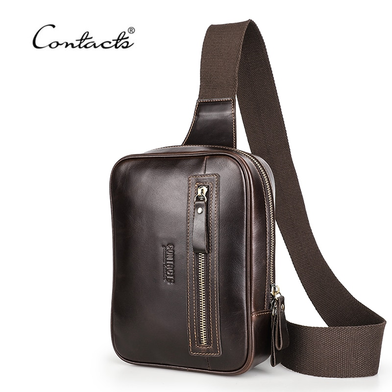 CONTACT'S Men Crossbody Bag Genuine Leather Chest Pack Casual Sling Bag For Male Messenger Shoulder Chest Bags Large Capacity