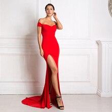 Sexy hors épaule Slash cou sirène robe Maxi moulante fendu rouge dos nu robe longue noir étage longueur robe de Club