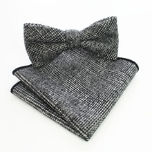 Ricnais Classic High Quality Gray Woolen Solid Bow Tie Set Tie&handkerchief  Wedding Business Party
