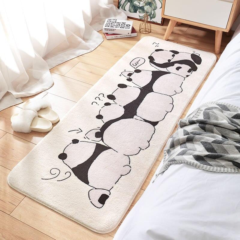 سجاد طويل لغرفة النوم مُبتكر برسوم كرتونية عالي الكثافة وسجاد بجانب السرير منفوش مع ممسحة حمام ماصة مانعة للانزلاق
