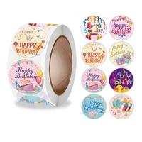 100 500 pcs 1 inch beautiful happy birthday stickers labels for birthday baking gift card party packaging small business