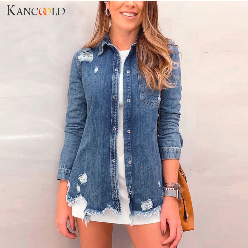 Abrigos KANCOOLD de moda de mujer de manga larga de agujero de mezclilla bolsillos de abrigo de Jean Outwear Casual nuevos abrigos y chaquetas de mujer 2019AUG15