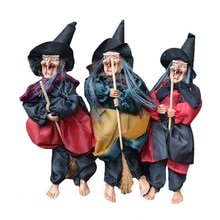 Amawill 할로윈 매달려 공포 마녀 인형 장난감 음성 제어 유령 무서운 승마 빗자루 바 벽 교수형 집 정원 장식