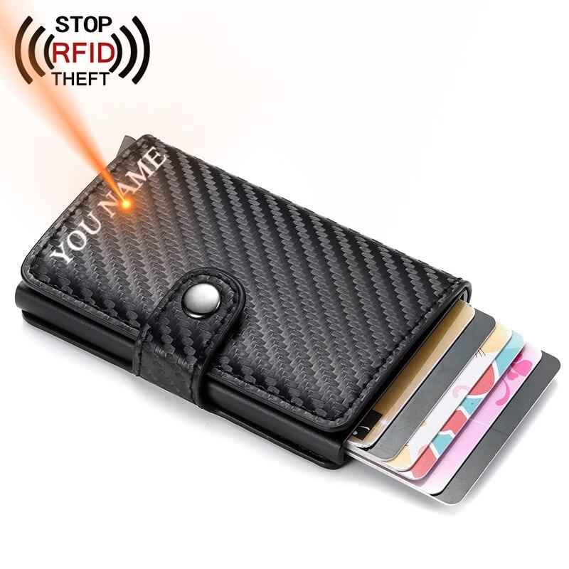 Мужской держатель для кредитных карт с застежкой, RFID Блокировка, искусственная кожа, автоматический держатель для визитных карточек, алюминиевый металлический мужской кошелек для карт
