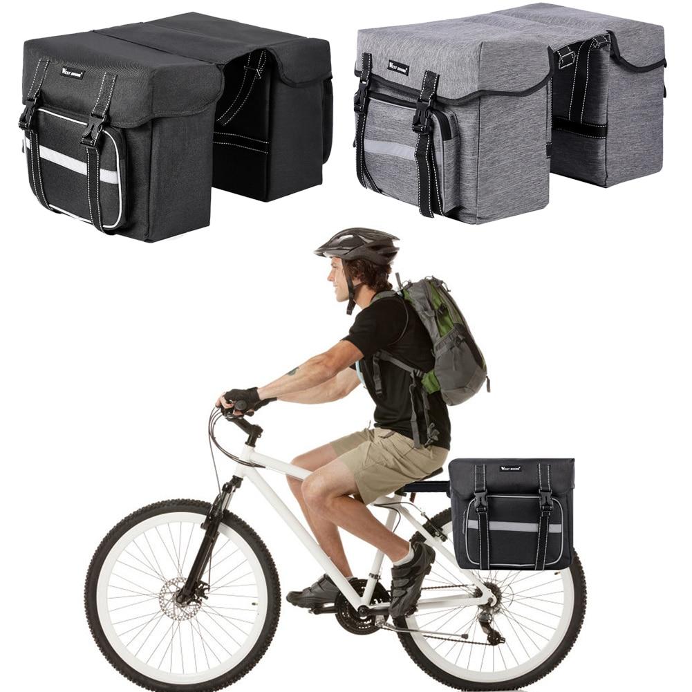 WEST BIKING 28L bolsas de transporte de bicicleta de gran capacidad doble lado reflexivo MTB Bike Rear Rack maletero equipaje Pannier para ciclismo