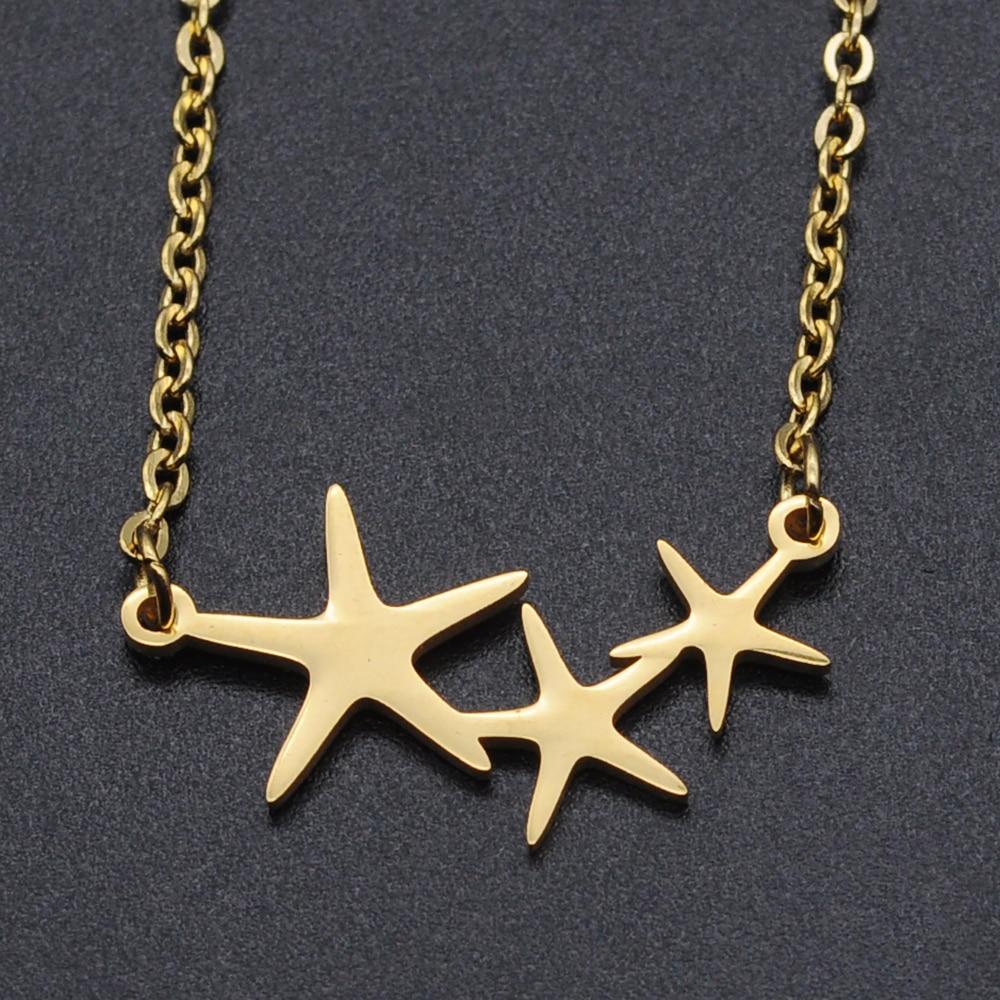 Estrella de mar de acero inoxidable collar de encanto para las mujeres...