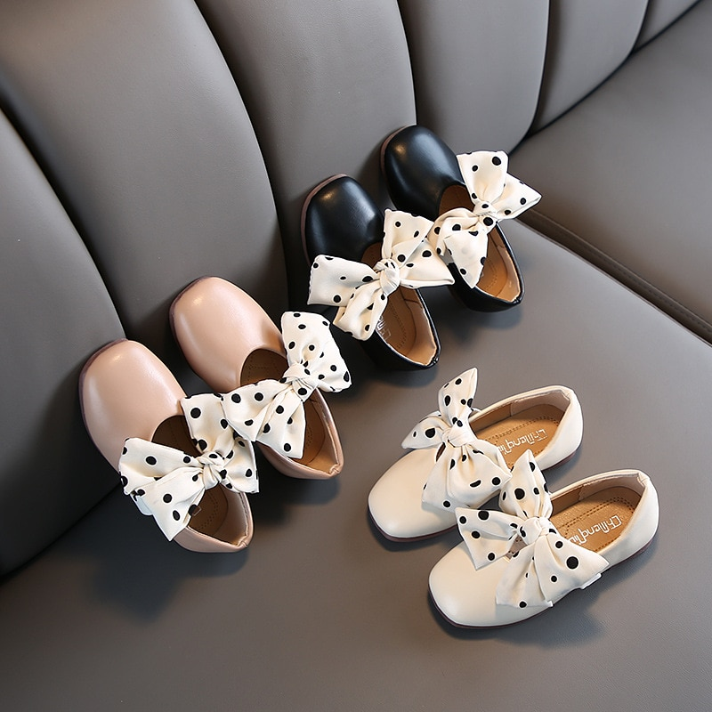 2021 New Childrens Shoes Girls Leather Soft Soled Shoes Bow-knot Princess Single Shoes Fashion Peas Shoes Spot Cute Chic Hot afdswg pu kids shoes girls fashion soft bottom princess shoes new bow leather shoes childrens shoes little girl shoes