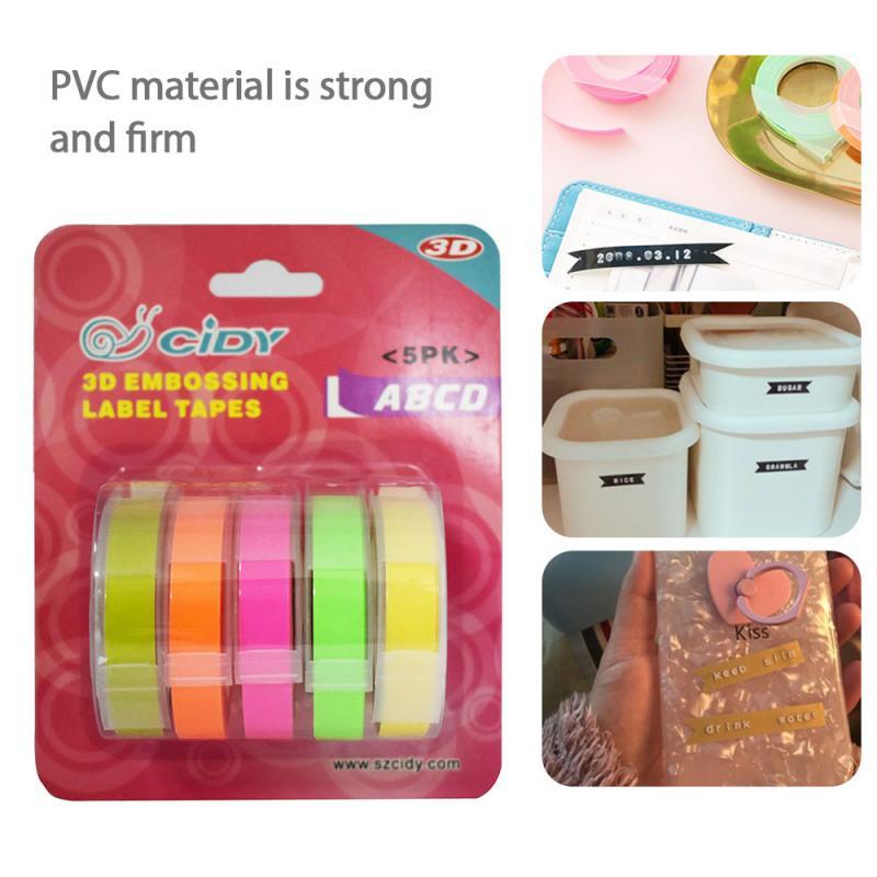 5 rollos/6/9/12mm 3D grabado de PVC cintas de etiquetas Dymo Compatible 1610 1880 Manual de 12965 impresoras de etiquetas para Motex E101 etiqueta fabricantes