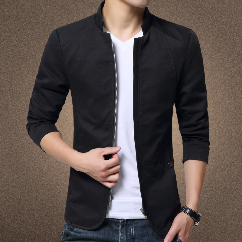 Mens Jacket Fashion Standing Collar Jacket Coats Men Slim Fit Business Casual Male Jackets Men Clothing Plus Size M-5XL Solid