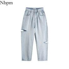 Nbpm Women 2021 Casual FashionHole Ripped Woman Jeans Straight Washed High Waist Pants 2021 New Spri