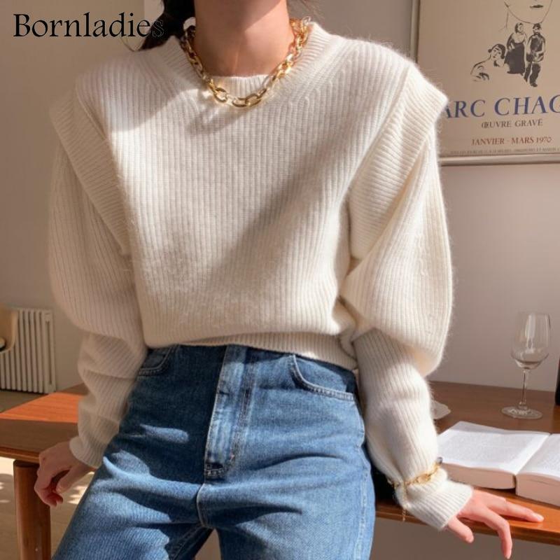 Bornwomen 2021 الخريف الشتاء فضفاض س الرقبة وهمية قطعتين البلوز معطف شتاء الأساسية للنساء الكورية لينة سترة محبوك