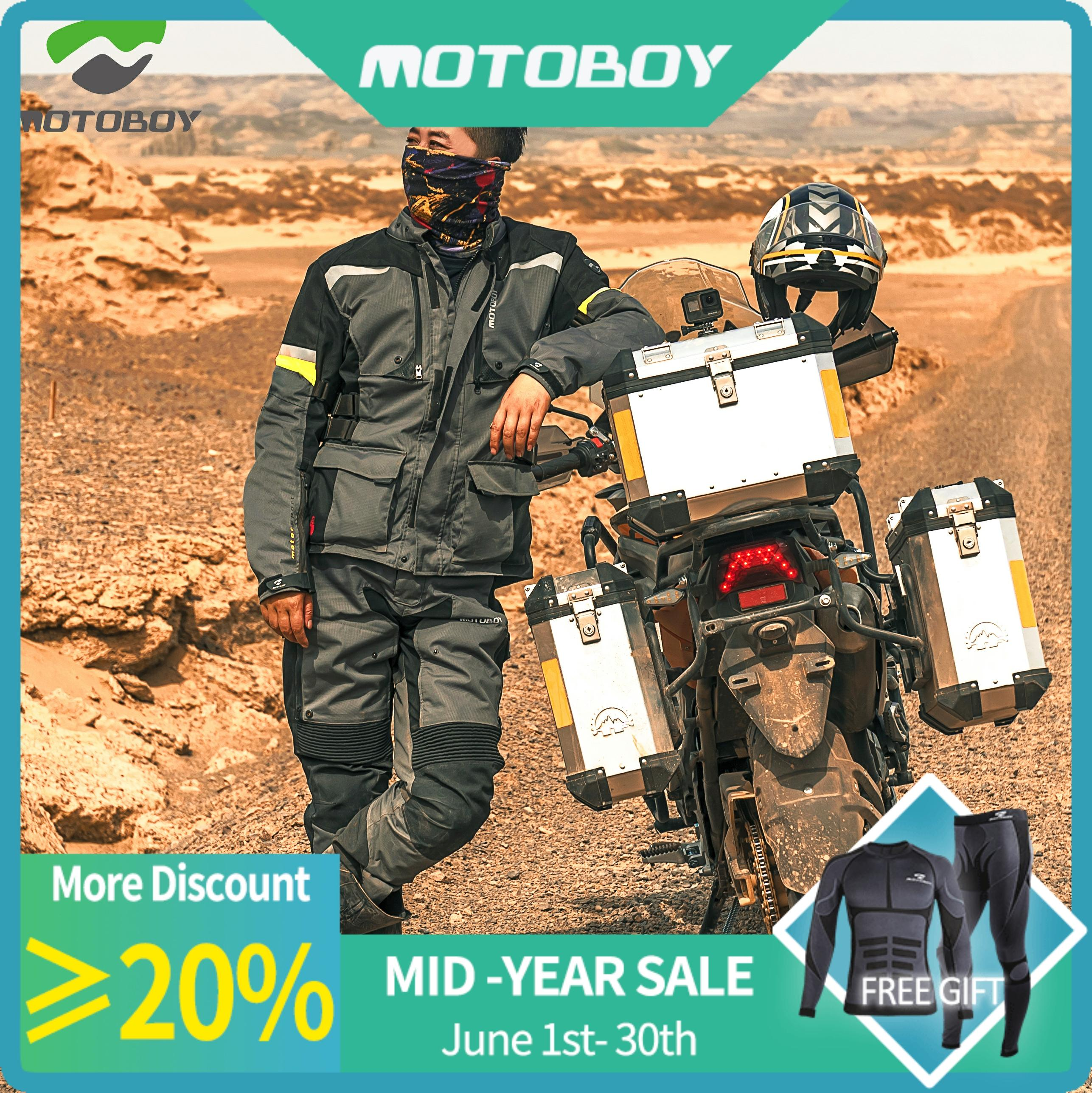 New Motoboy Motorcycle Bike Polyester 600D Oxford Riding Touring 3 Layer Waterproof Warm Jacket&Pant 4 Season Wear CE Protectors