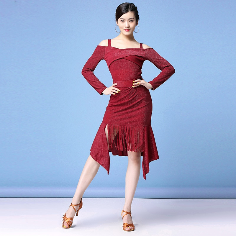 Новая мода 2019, Женская Одежда для танцев, сальса, Самба, платье на бретельках с открытыми плечами, необычный костюм для латинских танцев (топ, юбка, шорты)