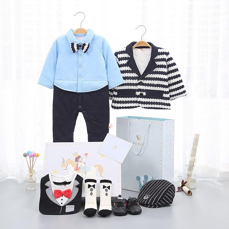 Conjunto de zapatos y sombrero, abrigo, ropa para recién nacido, ropa de algodón, regalo de invierno, Mono para niños, regalo de cumpleaños de 100 días, Caballero