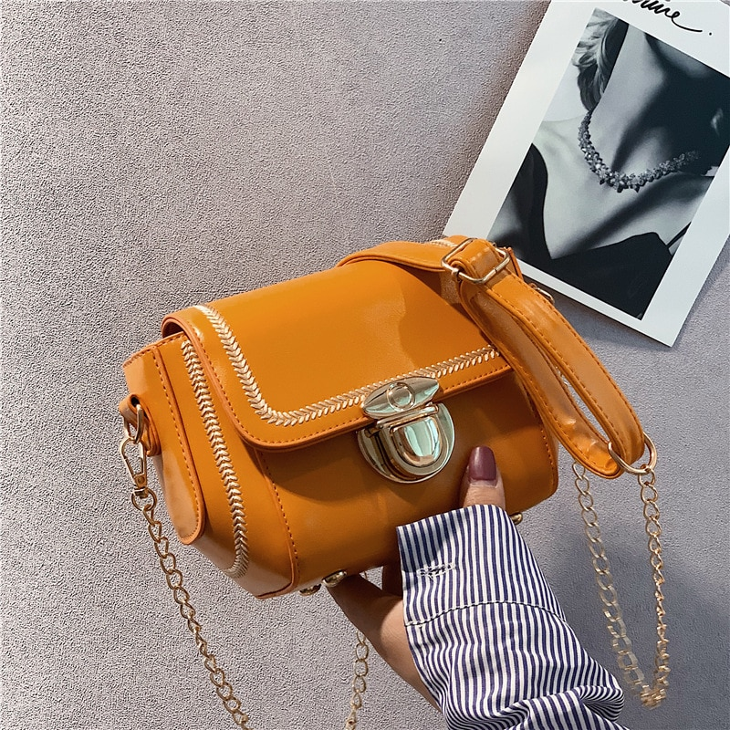 أزياء صغيرة Crossbody حقائب للنساء 2020 البسيطة حقيبة كتف جلدية PU حقيبة ساعي لفتاة الأصفر حقيبة السيدات الهاتف محفظة