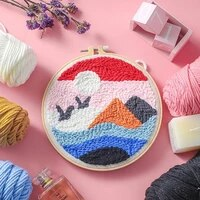 scenery punch needle kits for beginner diy embroidery kit landscape punch needle art with yarn punch needle pattern