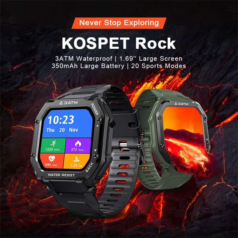 KOSPET ROCK 1.69 inch Smart watch 3ATM Wateproof full touch Screen Sports watch Bluetooth 5.0 350mAh smartwatch For Android iOS