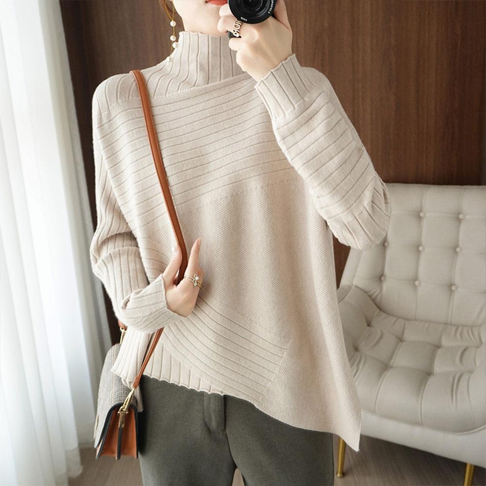 Suéter de cuello alto para mujer, de estilo occidental ropa holgada, Irregular, combina con todo, camisa con cuello levantado, jerseys de lana