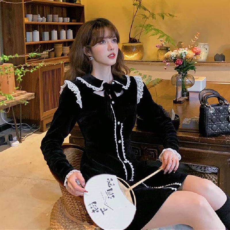 Female Long Sleeve Lace Bow One Piece Dress French Vintage Mini Dress Korean 2021 Spring Women Fashion Evening Party Black Dress