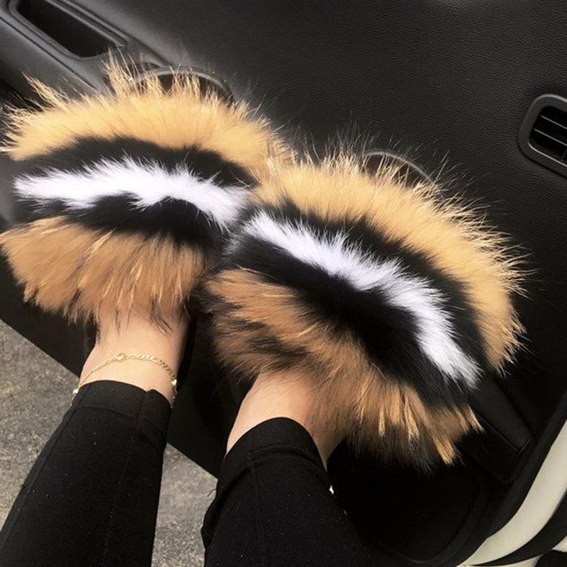 Casual feminino quente de pelúcia chinelos de pele da menina moda incrível pele slides senhoras linda pele peluda luxo flip flops casa sapatos planos